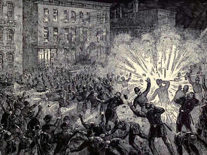 Illustrazione d'epoca raffigurante lo scoppio dell'ordigno a Haymarket Square.