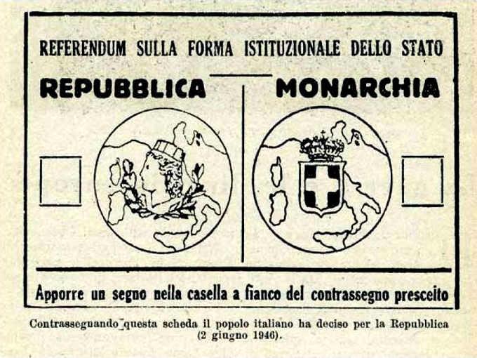 Scheda del referendum istituzionale del 2 e 3 giugno 1946.