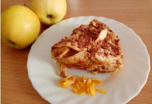 Torta di mele con scorza d'arancia e cioccolato al latte senza burro