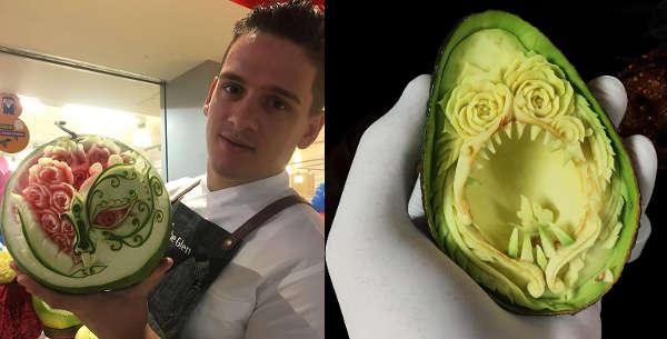 Daniele Barresi e l'arte di intagliare la frutta e la verdura
